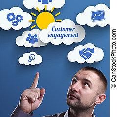 negócio, tecnologia, internet, e, marketing., jovem, homem negócios, pensando, about:, cliente, obrigação