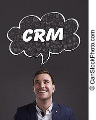 negócio, tecnologia, internet, e, marketing., jovem, homem negócios, pensando, about:, crm