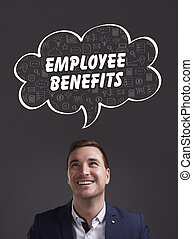 negócio, tecnologia, internet, e, marketing., jovem, homem negócios, pensando, about:, empregado, benefícios