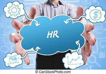 negócio, tecnologia, internet, e, marketing., jovem, homem negócios, pensando, about:, hr
