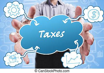 negócio, tecnologia, internet, e, marketing., jovem, homem negócios, pensando, about:, impostos