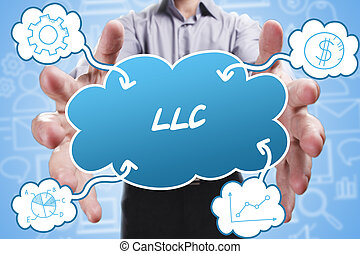 negócio, tecnologia, internet, e, marketing., jovem, homem negócios, pensando, about:, llc