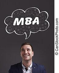 negócio, tecnologia, internet, e, marketing., jovem, homem negócios, pensando, about:, mba