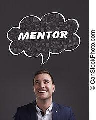 negócio, tecnologia, internet, e, marketing., jovem, homem negócios, pensando, about:, mentor