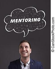 negócio, tecnologia, internet, e, marketing., jovem, homem negócios, pensando, about:, mentoring