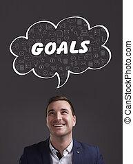 negócio, tecnologia, internet, e, marketing., jovem, homem negócios, pensando, about:, metas