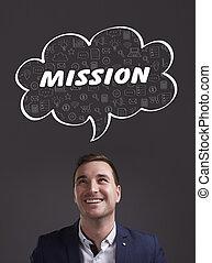 negócio, tecnologia, internet, e, marketing., jovem, homem negócios, pensando, about:, missão