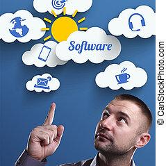 negócio, tecnologia, internet, e, marketing., jovem, homem negócios, pensando, about:, software