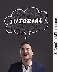 negócio, tecnologia, internet, e, marketing., jovem, homem negócios, pensando, about:, tutorial