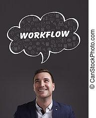 negócio, tecnologia, internet, e, marketing., jovem, homem negócios, pensando, about:, workflow