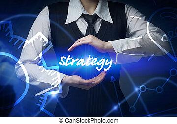 negócio, tecnologia, internet, e, networking, concept., mulher negócio, chooses, ícone, -, estratégia