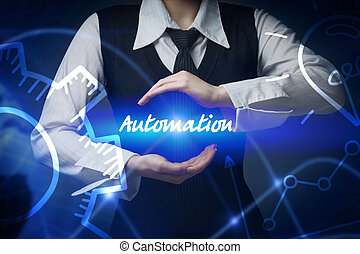 negócio, tecnologia, internet, e, networking, concept., mulher negócio, chooses, ícone, -, automação