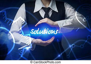 negócio, tecnologia, internet, e, networking, concept., mulher negócio, chooses, ícone, -, soluções