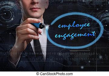 negócio, tecnologia, internet, e, rede, concept., jovem, homem negócio, escrita, word:, empregado, obrigação