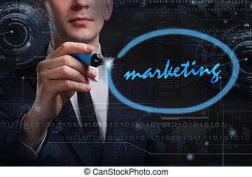 negócio, tecnologia, internet, e, rede, concept., jovem, homem negócio, escrita, word:, marketing