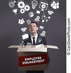 negócio, tecnologia, internet, e, rede, concept., jovem, homem negócios, mostra, a, word:, empregado, obrigação