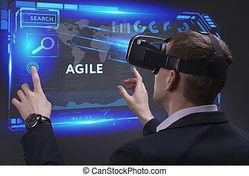 negócio, tecnologia, internet, e, rede, concept., jovem, homem negócios, trabalhar, um, virtual, tela, de, futuro, e, vê, a, inscription:, ágil