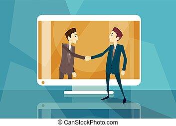 negócio teia, tela, internet, virtual, mão, computador, abanar, homem negócios, reunião