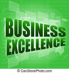 negócio, tela, mapas, excelência, palavras, digital, toque, ...