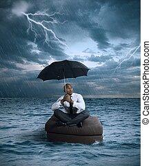 negócio, tempestade