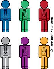 negócio, trabalhadores, cores, em branco
