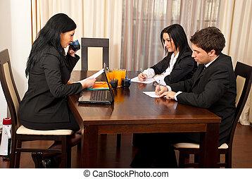 negócio, trabalhando escritório, pessoas
