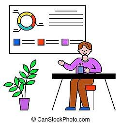negócio, trabalhando, homem, mapa, escritório, tábua