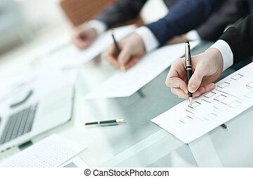 negócio, trabalhando, imagem, escrivaninha, fundo, equipe