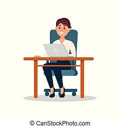 negócio, trabalhando, sentando, executiva, laptop, personagem, ilustração, vetorial, computador, escrivaninha, sorrindo, escritório, caricatura