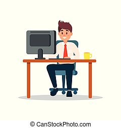negócio, trabalhando, sentando, laptop, personagem, ilustração, vetorial, computador, escrivaninha, homem negócios, sorrindo, escritório, caricatura