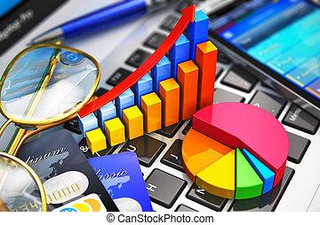 negócio, trabalho, e, análise financeira, conceito
