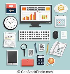 negócio, trabalho, elementos