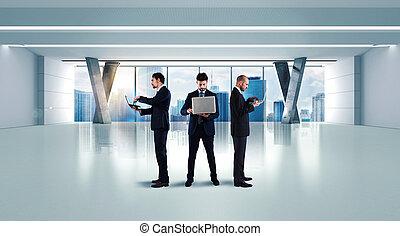 negócio, trabalho, em, escritório