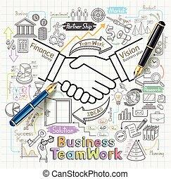 negócio, trabalho equipe, conceito, doodles, ícones, set.