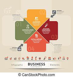 negócio, trabalho equipe, conceito, gráfico, elemento