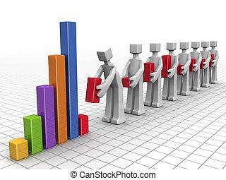 negócio, trabalho equipe, e, desempenho, conceito