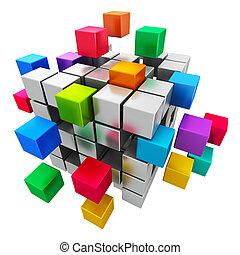negócio, trabalho equipe, internet, e, comunicação, conceito