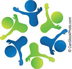 negócio, trabalho equipe, pessoas, logotipo