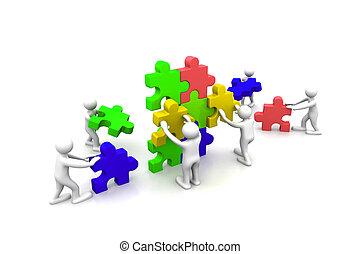 negócio, trabalho equipe, predios, quebra-cabeças, junto