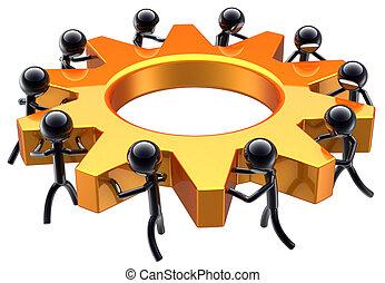 negócio, trabalho equipe, sonho, equipe