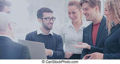 negócio, trabalho, junto, planificação, equipe, feliz