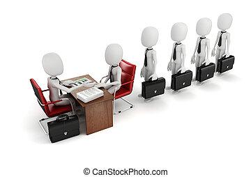 negócio, trabalho, reunião, entrevista, homem, 3d