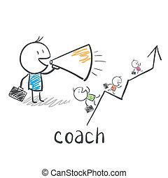 negócio, treinador, treinador