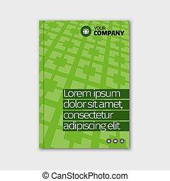 negócio verde, desenho, com, manchete, e, padrão,...