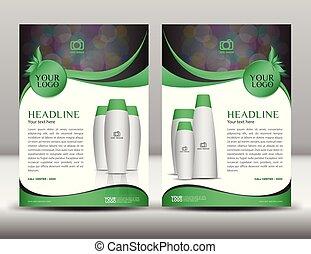 negócio verde, folheto, voador, desenho, esquema, modelo, em, a4, tamanho, revista, anúncios, cosméticos, catálogo