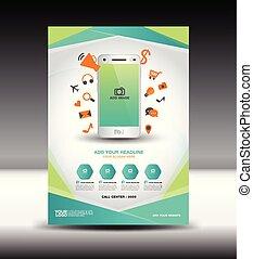 negócio verde, folheto, voador, desenho, esquema, revista, anúncios, infographics