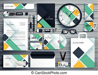 negócio, vetorial, desenho, modelo, papelaria, profissional