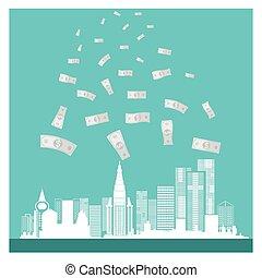 negócio, vetorial, dinheiro, edifícios, sucesso, ligado, experiência azul