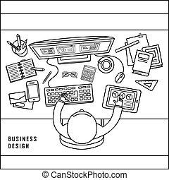 negócio, vista, desenho, topo, conceito
