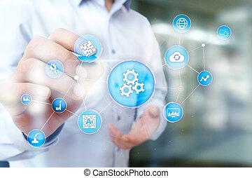 negócio, workflow, processo, modernos, solução, automação, automatization, fabricando, tecnologia, software